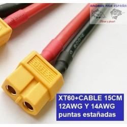 XT60+CABLE 15CM 12AWG puntas estañadas
